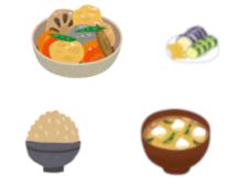 ご飯(玄米)の一汁一菜の一例