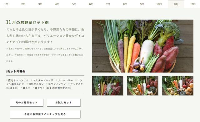 坂ノ途中お届け野菜の一例